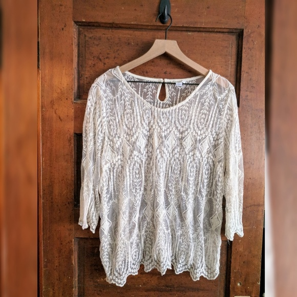 18bbec11c4ddc4 Cato Tops | Antique Lace Blouse Ivory Off White Formal | Poshmark